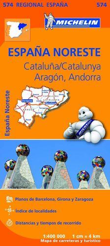 MAPA REGIONAL CATALUÑA,/CATALUNYA, ARAGÓN, ANDORRA