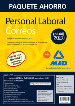 PAQUETE AHORRO PERSONAL LABORAL CORREOS 2020. AHORRA 65 € (INCLUYE TEMARIOS 1 Y